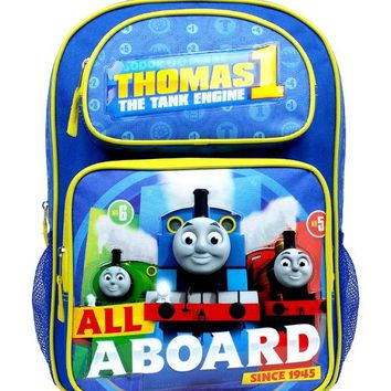 """The Tank Engine """"ALL ABOARD"""" Thomas the Train Engine 16"""" Canvas School Backpack"""