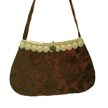 Brown shoulder bag, Brown evening bag, Handbag brown, Jacquard velvet bag, Lace purse, Brown hand bag, Fabric handbag brown, Boho Chic