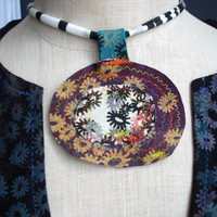 A Song for You - iheartfink Handmade Hand Printed Textile Art Flowers Fabric Disc Wearable Art Necklace