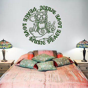 Wall Vinyl Hippie Peace Love Music Weed Decal (z3402)