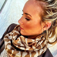 Chevron Tribal Stripe Infinity Scarf Taupe and Ivory Sweater Chunky Neck Warmer Loop