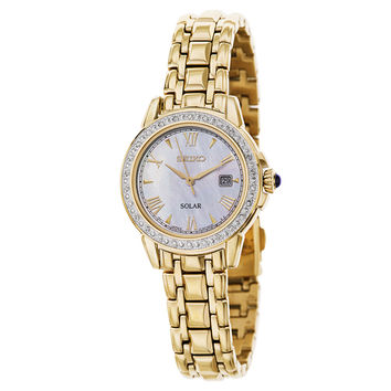 Seiko SUT172 Women's Solar Diamond Cabachon Gold-tone Bracelet Watch | Overstock.com Shopping - The Best Deals on Seiko Women's Watches