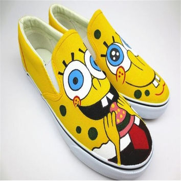 Sponge Bob Canvas Shoes Plus Size Lover Shoes Hand-Painted 2016 New Student Shoe a Pedal Slip On Canvas Shoes For Men ,Women