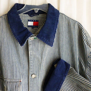 Vintage TOMMY HILFIGER Denim JACKET, Men's Size Extra Large to Extra Extra Large Gently Worn, Engineer Stripes Train Railroad Hip Hop xl xxl