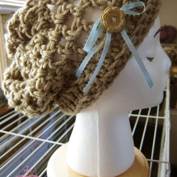 Chunky Crochet Slouch Beanie Hat Sugar Cookie Mouse Taupe Brown Grey