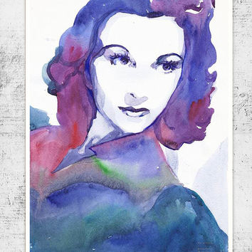 Vivien Leigh, Watercolor painting, illustration, Celebrity Portraits, art print, girl painting
