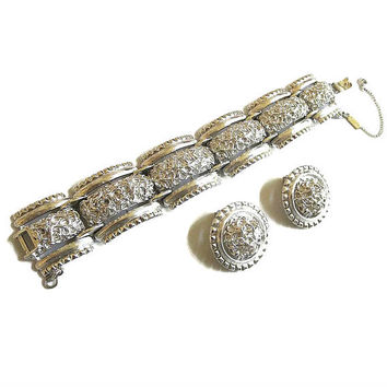 Highly Textured Silver Tone Bracelet and Earrings Set MINT Vintage 1950s signed Monet
