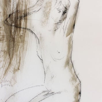 Modern artwork Giclee print of original drawing Sketch Contemporary wall art Graphic art Fine art Nude woman Model Home decor Silent