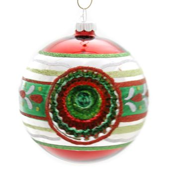 Shiny Brite HS ROUNDS W/ REFLECTORS Glass Ornament Ball Christmas 4026900S Red