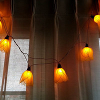 20 Yellow tulip Flower fairy light handmade string light lantern hanging indoor patio garland wedding party