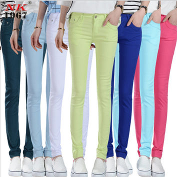 NK1967 Women Sexy Fashion Candy Color Pencil Pants//Skinny Pants/Casual pants With Cotton Summer Trousers Fit Lady elastic Pants