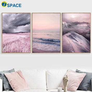 Snow Mountain Beach Wilderness Landscape Wall Art Canvas Painting Nordic Posters And Prints Wall Pictures For Living Room Decor