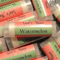 Watermelon Lip Balm - One Tube of All Natural Beeswax Lip Salve Chapstick from Lee the Beekeeper