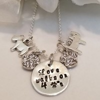 "Pet Lovers Rescue Jewelry Message ""Love Walks on 4 Paws"" necklace"