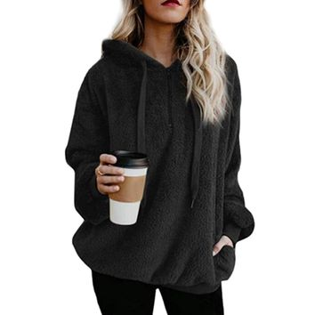 Women'S Casual Loose 1/4 Zip Sherpa Fleece Pullover Hoodie With Pockets 2018 New Fashion Sweatshirt For Female