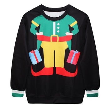 Round-neck Party Stylish Print Tops Christmas Ugly Christmas Sweater Hoodies [9440725380]