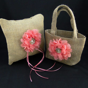 "Burlap Ring Bearer Pillow with a Coral Chiffon and Lace Flower 8"" X 8"" Rustic Vintage Country Wedding Pillow Accessories"