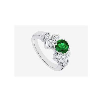 Emerald engagement ring with bezel set CZ  in 14K White Gold 1.70 Carat TGW
