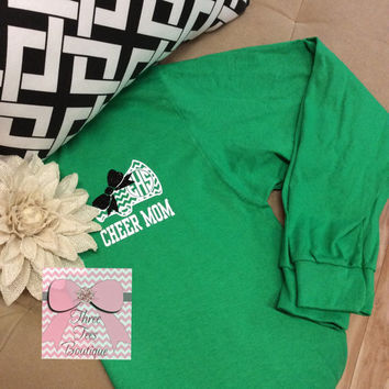 Monogram Cheer Megaphone with Glitter Bow T-Shirt Chevron Monogram Cheer Mom T-Shirt Cheerleader Squad Long Sleeve T-Shirt Monogrammed Gifts