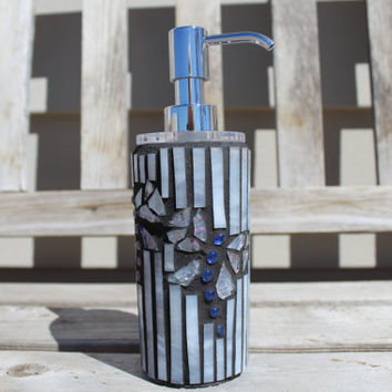 Dragonfly mosaic soap/lotion dispenser, soap dispenser, lotion dispenser, mosaic dispenser, glass mosaic, dragonfly mosaic, dragonfly