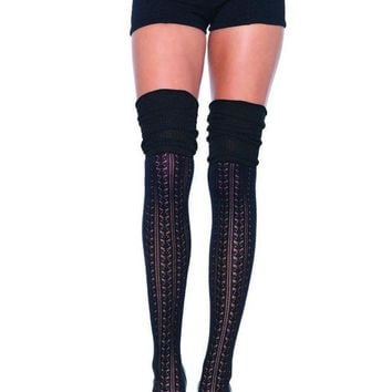 DCCKLP2 Acrylic pointelle over the knee scrunch sock in BLACK