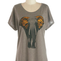 ModCloth Mid-length Short Sleeves Butterfly Believe It Top
