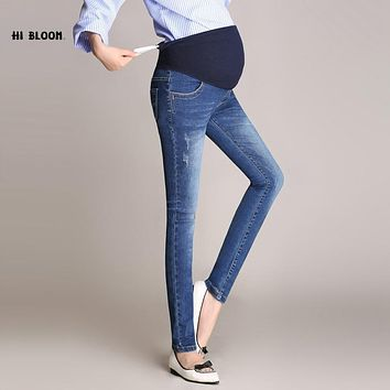 Wisstt Plus Size Maternity Pants Pregnant Abdomen Wide Leg Office Bell-Bottom High Waist Solid Denim Jeans Straight Trousers Hot