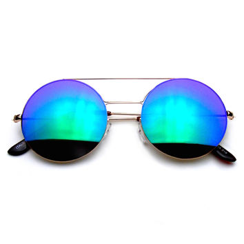 Vintage Inspired Steampunk Cross Bar Round Circle Flash Revo Sunglasses