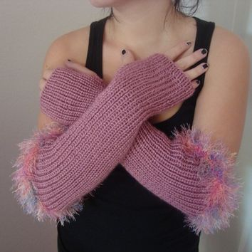 Long Knitted Fingerless Gloves - Hand Knitted Arm Warmer - Long Armwarmers - Fashion Accessories -