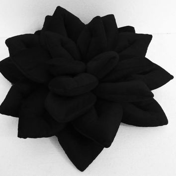 "Black Lotus flower velvet pillow/ cushion in the size 16""x16""mother gift housewarming gift"