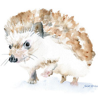 Hedgehog Watercolor Painting Giclee Reproduction - 4 x 6 in -- Nursery Art  -- Fine Art Print