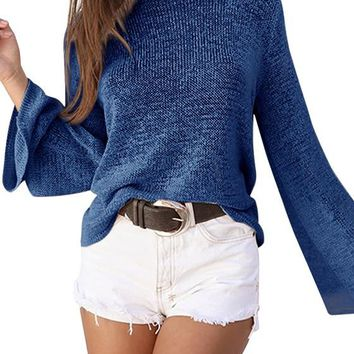 Blue Plain Tie Back Hollow-out Long Sleeve Pullover Sweater