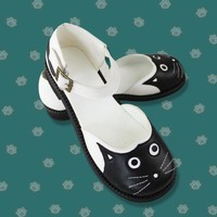 DCCKH6B Cute Party Cosplay Woman Black Sandals Flat Costume Props Halloween Performance Shallow Mouth Cat Shoes Female 36/37/38/39