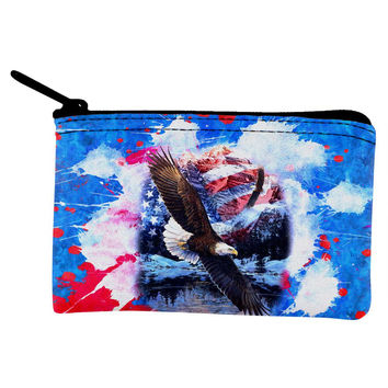 4th of July American Flag Bald Eagle Splatter Coin Purse