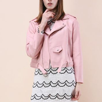 Undeniably Chic Faux Leather Biker Jacket in Pink
