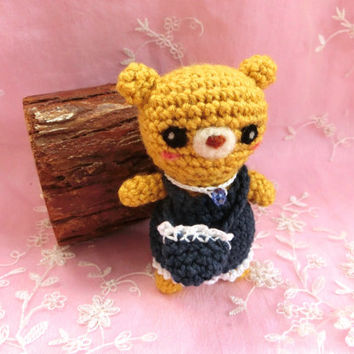 Amigurumi Baby Bear Crochet Bear Crochet Denim Dress Stuffed Animal Stuffed Toy Bear Kids Toy Gift Ideas
