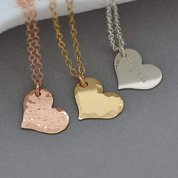 Small Heart Necklace, Dainty Heart Necklace, Personalized Heart, Monogram Necklace, Gold, Silver, Rose Gold
