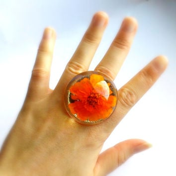 Orange Flower Ring - Eco Resin Ring Large OOAK Ring Transparent Resin Ring Real Flowers Marigold Ring Eco Resin Jewelry Gold Floral Ring