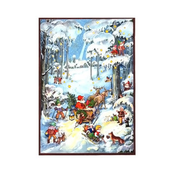 Sellmer Advent Christmas Santa in Woods Calendar Card 12H x 8W x .1D