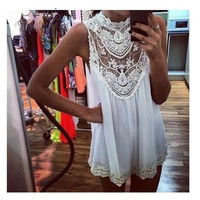 Sexy Women Lace Chiffon Party Evening Summer Ladies Short Beach Dress = 1655753412