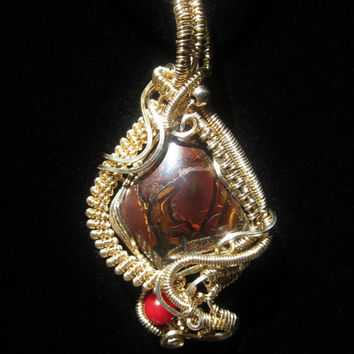 Pendant Necklace Wire Wrap Pendant in Gold Filled and Boulder Opal