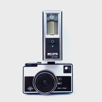 Vintage rare germany camera AGFA ISO PAK with flash Metz 216 126 film camera roll film collectable old camera retro photography 60s