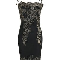 Black Embroidery Spaghetti Strap Bodycon Mini Dress