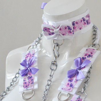 Kitten play collar leash and cuffs - Violet secret - bdsm proof gear ddlg cgl cute neko sweet kawaii pet petplay costume - pastel and white