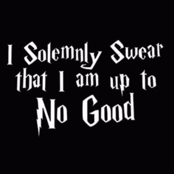 I Solemnly Swear That I Am Up To No Good Decal Car Vinyl Harry Potter White