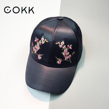 Trendy Winter Jacket COKK Baseball Cap Women Embroidery Floral Flower Satin Snapback Dad Hat For Women Female Summer Sun Hat Club Party Cap Bone Kpop AT_92_12