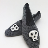 Gray white and black unisex skull slippers, home slippers, yoga, healthy, shoes Gift ,Mothers day