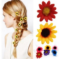 Hot 4pc/lot Girls Fancy Hair Accessories Colorful Sunflower Hairpins Women charming U Shape Wedding Hair clip