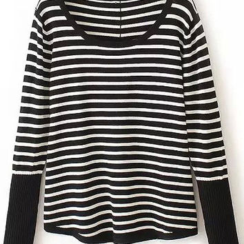 Black and White Stripe Scoop Neckline Sweater