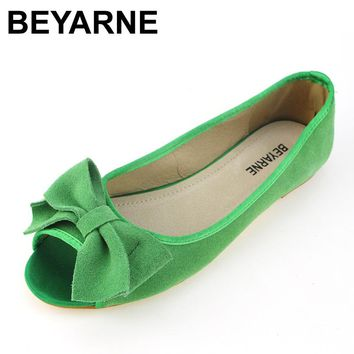 BEYARNE spring summer sweet open toe women single shoes genuine leather flats soft bottom ballet shoes woman sandals size 35-43